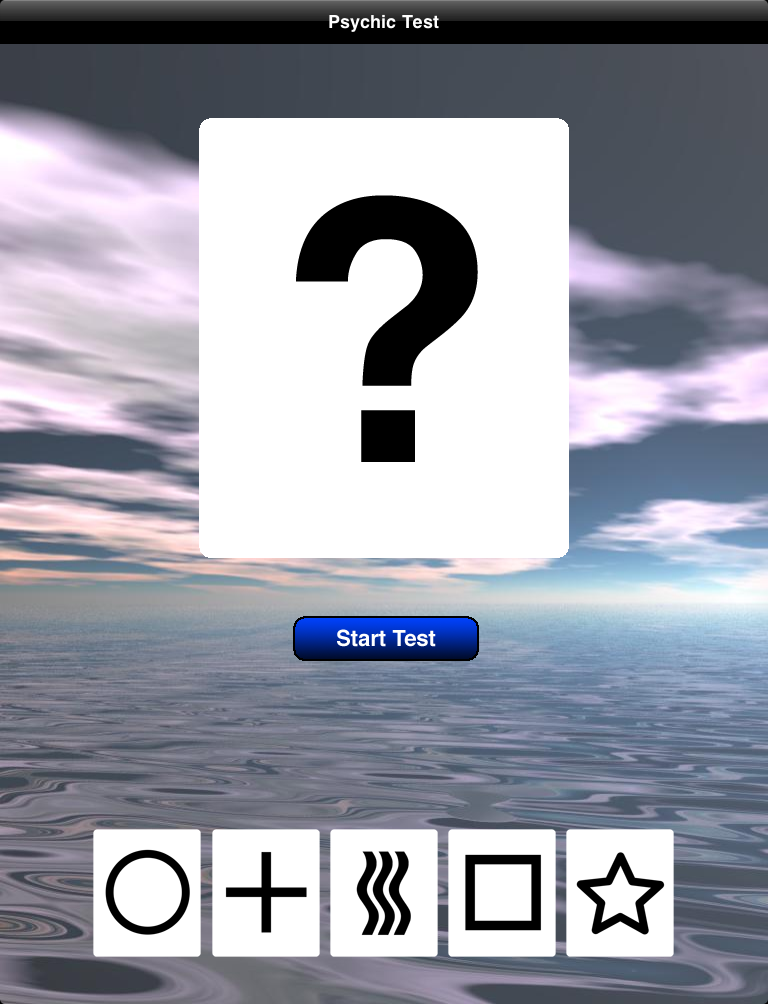 Psychic Test Start Screenshot