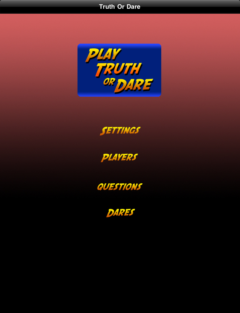Truth or Dare Unlimited HD Main Screen