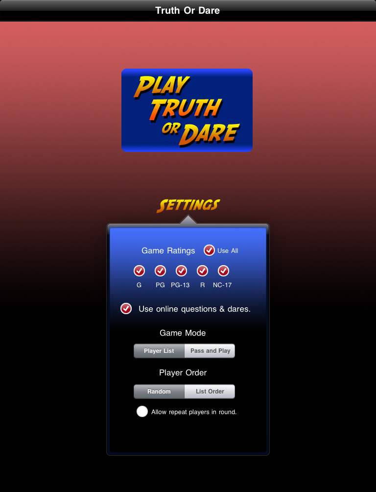 Truth or Dare Unlimited HD Settings Screenshot